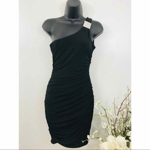 Sweet Storm One Shoulder Rouched BodyCon Dress